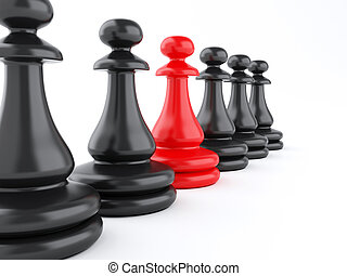 3D red pawn of chess standing among black pawns.