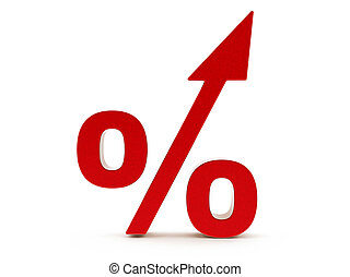 3d Red Percent increase Sign Isolated on the White...