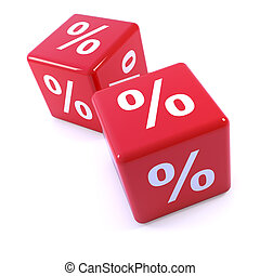 3d Red percentage dice