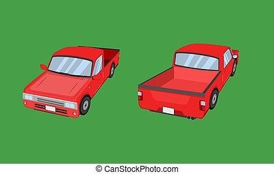 3d red pickup truck car front side back view transport vector illustration eps10
