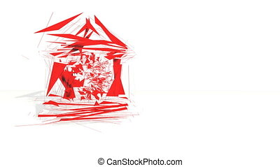3d red polygons spin and assemble into a 3d bitcoin symbol in bank. 4k 3d clean animation on white background