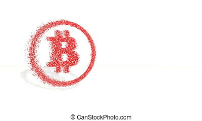3d red polygons spin and assemble into a 3d bitcoin symbol in ring. 4k 3d clean animation on white background