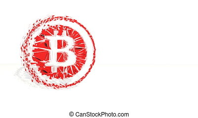 3d red polygons spin and assemble into a 3d bitcoin symbol in ring like coin. 4k 3d clean animation on white background