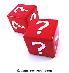 3d Red question mark dice