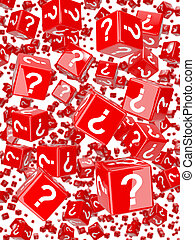 3d Red question mark dice falling