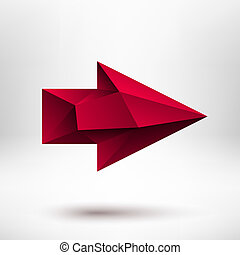 3d Red Right Arrow Sign with Light Background - 3d red right...