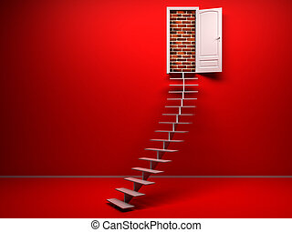 3d red room with opened door. Brick wall - empty red 3d room...