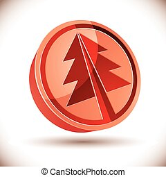 3d red round Christmas tree icon.