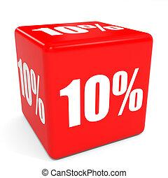 3D red sale cube. 10 percent discount.