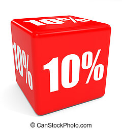 3D red sale cube. 10 percent discount.