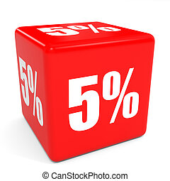 3D red sale cube. 5 percent discount.