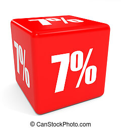 3D red sale cube. 7 percent discount.