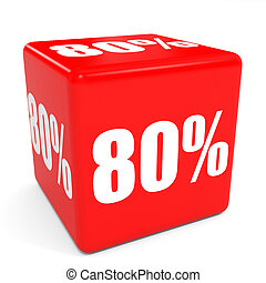 3D red sale cube. 80 percent discount.