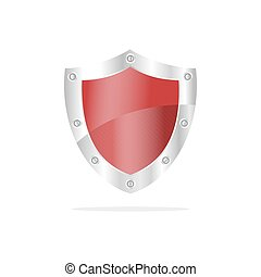 3D Red security shield on a white background