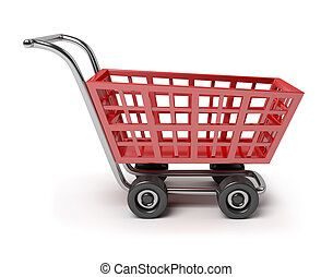 cart - 3d red shop cart. 3d image. Isolated white background...