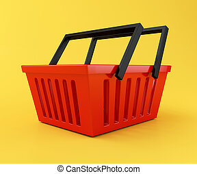 3d Red shopping basket - 3d renderer illustration. Red...