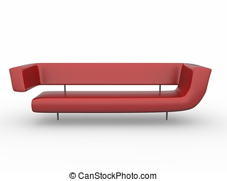 3d red sofa isolated on white