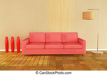 3d red sofa
