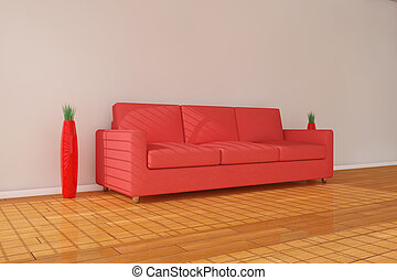 3d red sofa with vase