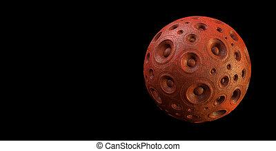 3d red speaker sound system planet over black