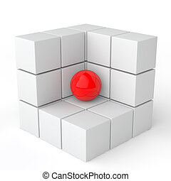 3d red sphere in white cubes