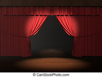 3d red stage curtain with spotlight on stage