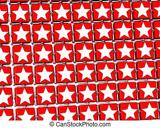 3D Red Stars Sign blocks