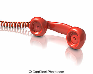 3d Red telephone handset