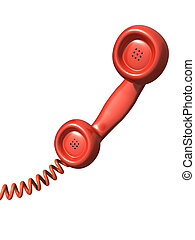 3d Red telephone handset - 3d render of a red telephone...