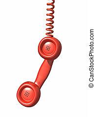 3d Red telephone handset hangs
