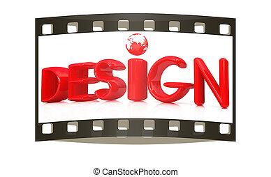 """3d red text """"design"""""""