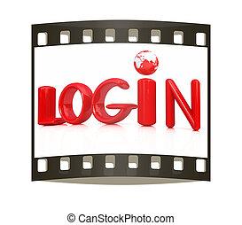 """3d red text """"login"""""""