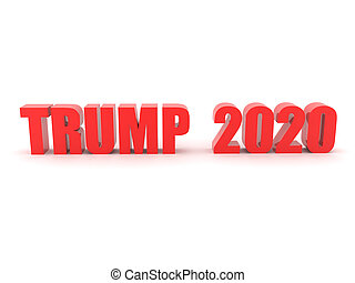 3D Red text saying TRUMP 2020. 3D Rendering isolated on...
