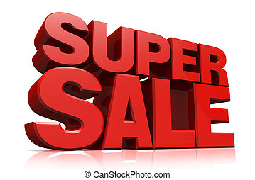 3D red text super sale on white background with reflection