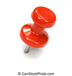 3d Red thumbtack - 3d render of a red thumb tack