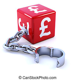 3d Red UK Pound sybol dice with shackle - 3d render of red ...