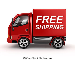 3D Red Van with Free Shipping text