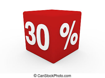 3d red white sale cube 30 isolated on white background