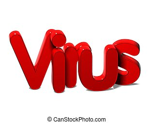 3D Red Word Virus on white background
