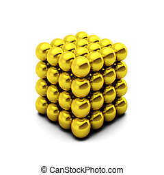 3d rednder of cube consists of golden balls