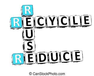 3D Reduce Reuse Recycle Crossword