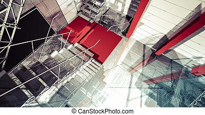 3d, reflexión., moderno, industrial, interior, escaleras, limpio, espacio, en, industria, edificio