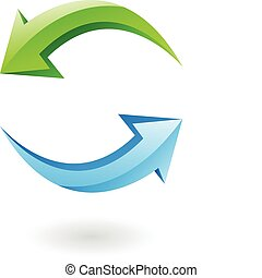 3d refresh icon - 3d glossy refresh icon, green and blue...
