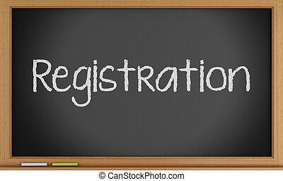 3d Registration written on blackboard. - 3d illustration....