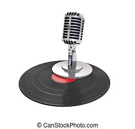 (3d, registro, microfone, illustration)., vindima, vinil