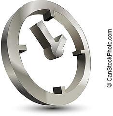 3d, relógio tempo, ícone