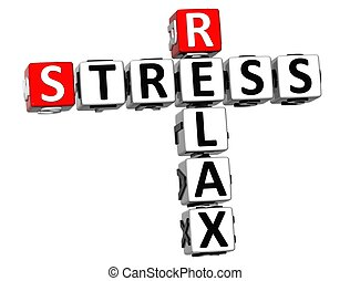 3D Relax Stress Crossword on white background