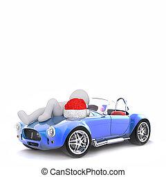 3d, relaxar homem, ligado, a, tampa para motor, coberta, de, seu, carro esportes