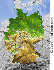 3D Relief Map of Germany, seen from above. Shows major...