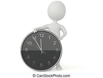 3d, reloj, carácter, humanoide, exposición